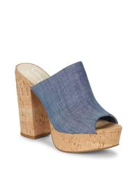 Jessica Simpson   Blue Giavanna Cork Platform Sandals   Lyst