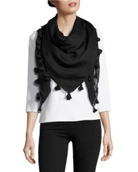 Lord & Taylor | Black Tassel Accented Wrap Scarf | Lyst