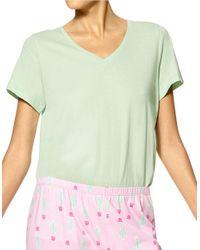 Hue | Green Solid V-neck Short-sleeve Tee | Lyst