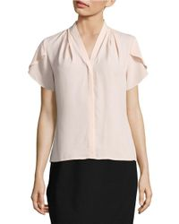 Calvin Klein | Pink Chiffon Button-front Blouse | Lyst