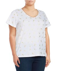 Lord & Taylor | White Plus Pineapple-print Soft V-neck Cotton Top | Lyst