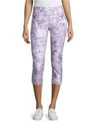 Calvin Klein | Purple Abstract Printed Shimmer Cropped Leggings | Lyst