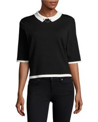 Ivanka Trump | Black Collared Contrast Top | Lyst