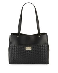 Karl Lagerfeld | Black Diamond Stitched Leather Tote | Lyst