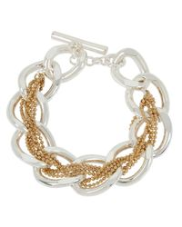 Kenneth Cole | Metallic Two-tone Braided Woven Link Toggle Bracelet | Lyst
