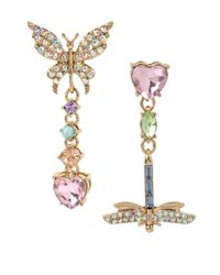 Betsey Johnson | Metallic Gold-tone Multi-stone Butterfly & Dragonfly Mismatch Drop Earrings | Lyst
