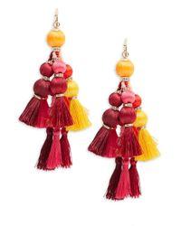 Kate Spade | Red Pretty Poms Tassel Statement Earrings | Lyst