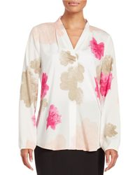 Calvin Klein | Natural Floral Crepe Blouse | Lyst