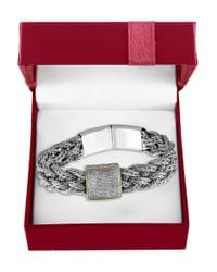 Effy | Metallic 0.039 Tcw Diamond And 18k Yellow Gold And Sterling Silver Braided Bracelet | Lyst