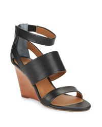 Seychelles   Purple Suave Leather Stacked Wedge Sandals   Lyst