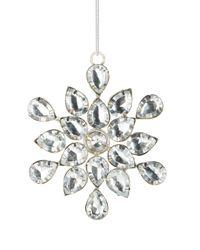 Lord & Taylor - Metallic Beaded Snowflake Ornament - Lyst