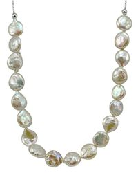 Lord & Taylor | 12mm White Round Coin Pearl Slider Necklace | Lyst