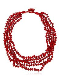Lord & Taylor | Red Sea Bamboo Coral Five-row Necklace | Lyst