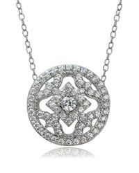 Lord & Taylor | Metallic Cubic Zirconia And Sterling Silver Medallion Pendant Necklace | Lyst