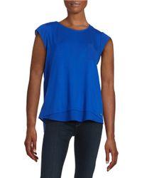Calvin Klein | Blue Mixed Media Pocket Tee | Lyst
