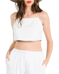 Kendall + Kylie | White Leather Crop Shell Top | Lyst