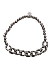 Lord & Taylor | Black Sterling Silver Beaded Curbed Chain Stretchy Bracelet | Lyst