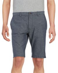 SELECTED | Gray Striped Cotton Shorts for Men | Lyst