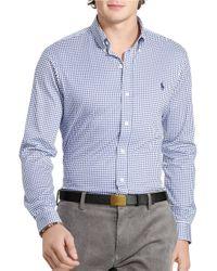 Polo Ralph Lauren | White Custom Fit Gingham Long Sleeve Shirt for Men | Lyst