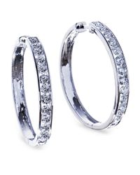 Lord & Taylor | Multicolor 14k White Gold Diamond Hoop Earrings, 1.5 Tcw | Lyst