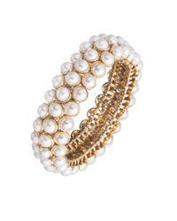 Anne Klein | Metallic 3-row Faux Pearl Stretch Bracelet | Lyst