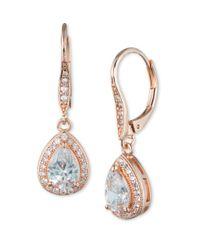Anne Klein | Metallic Cubic Zirconia Pear Drop Earrings | Lyst