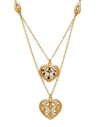 Lord & Taylor | Metallic 18k Italian Gold Polished Floral Heart Center Double Link Necklace | Lyst