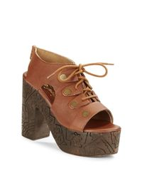 Free People | Brown Farrah Platform Sandals | Lyst