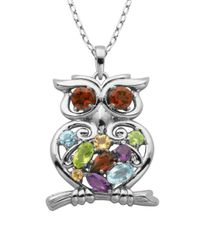 Lord & Taylor - Multicolor Multi-stone Owl Pendant Necklace - Lyst