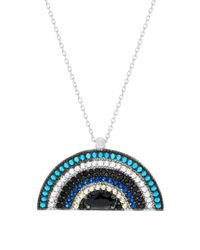 Lord & Taylor | Blue Cubic Zirconia Half Circle Necklace | Lyst