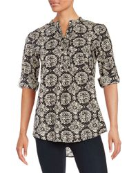 Lord & Taylor | Black Printed Roll Sleeved Top | Lyst