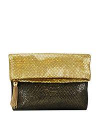 La Regale | Metallic Mesh Foldover Clutch | Lyst