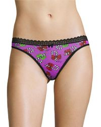 Betsey Johnson | Purple Printed Thong | Lyst