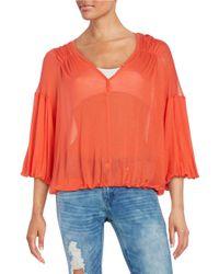 Free People | Orange Knit V-neck Blouse | Lyst