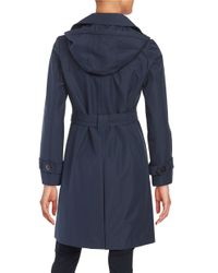 Ellen Tracy - Blue Genuine Fox Fur Trim Toggle Down Coat - Lyst