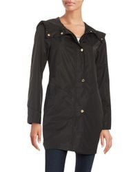 Ellen Tracy | Black Petite Hooded Snap-button Mid Length Lightweight Coat | Lyst