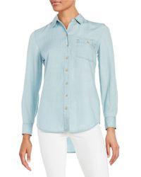 Lord & Taylor | Blue Roll-tab Button Shirt | Lyst