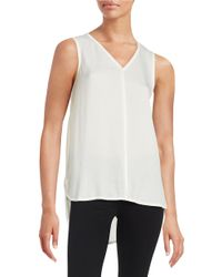 Lord & Taylor | White Woven Front V-neck Shell | Lyst