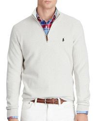 Polo Ralph Lauren | Gray Pima Cotton Half-zip Sweater for Men | Lyst