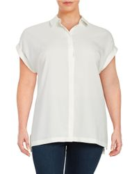 Lord & Taylor - White Plus Crepe Satin Blouse - Lyst
