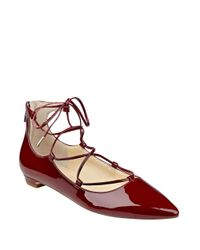 Ivanka Trump | Red Tropica Pointed Toe Lace-up Flats | Lyst