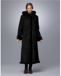 Gallery | Black Petite Sueded Faux Fur-trimmed Coat | Lyst