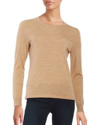 Lord & Taylor | Natural Petite Crewneck Merino Wool Sweater | Lyst