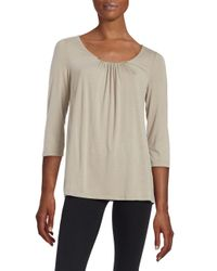Lord & Taylor   Natural Petite Shirred Neckline Blouse   Lyst