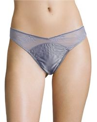 Calvin Klein | Blue Silky Lace Thong | Lyst