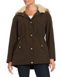Jones New York | Brown Faux Fur Trimmed Hooded Jacket | Lyst