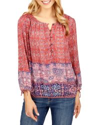 Lucky Brand | Red Trendy Plus Size Tapestry-print Peasant Top | Lyst