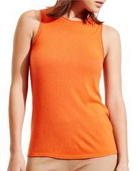 Lauren by Ralph Lauren | Orange Petite Silk Blend Sleeveless Sweater | Lyst