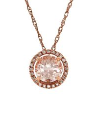 Lord & Taylor | Multicolor 0.72tcw Diamonds, Morganite And 14k Rose Gold Pendant Necklace | Lyst
