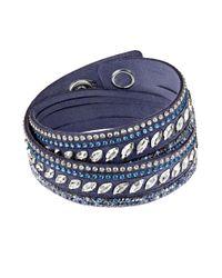 Swarovski | Slake Pulse Blue Crystal-accented Leather Wrap Bracelet | Lyst